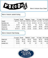 Mens Small Jacket Size Chart Volcom Mens Size Chart Sturtevants