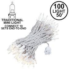 Mini White Light Strings 100 Light 50 Long White Wire Christmas Mini Lights Connect 10