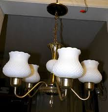 antique hobnail white milk glass brass 5 light chandelier exquisite