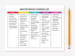 Printable Master House Cleaning List