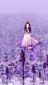 Cute Girl In Purple Flower Garden ...