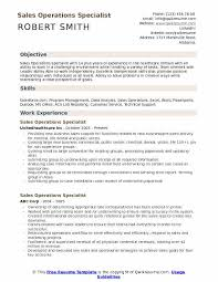 Objective For Resume In Sales Sales Operations Specialist Resume Samples Qwikresume