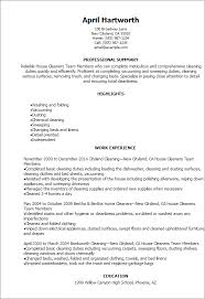 House Cleaner Resume Template 1 House Cleaners Team Members Resume
