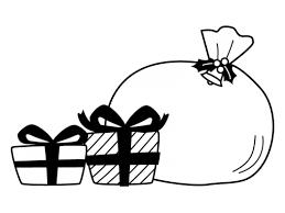 クリスマスプレゼントの白黒イラスト02 かわいい無料の白黒イラスト