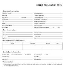 Business Account Application Company Application Form Template Credit Account Application