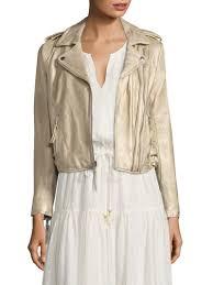 joie leolani metallic leather biker jacket gold women s jackets vests faux joie shoes saks fifth avenue large