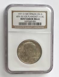 1971 D Kennedy Half Dollar Error Coin Silver Planchet Ngc