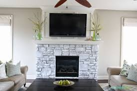 painting a fireplace whiteWhiteWashed Stone Fireplace  Life On Virginia Street