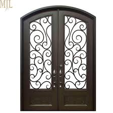 exterior arched wrought iron entry doors with tempered glass