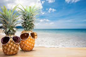 summer background pineapple with sunglasses on wood concept summer background stock