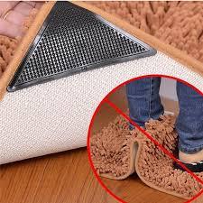 4pcs reusable non slip rug gripper mat pad self adhesive carpet corner anti skid stopper