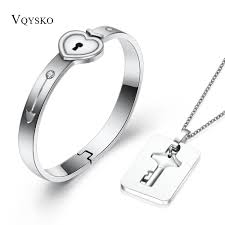dropwow a couple jewelry sets stainless steel love heart lock bracelets bangles key pendant necklace
