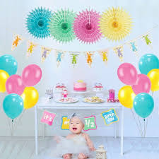 18pcs half birthday party decoration its my 1 2 birthday lovely bunny banner balloons 6 months baby girl boy rainbow decor party diy decorations