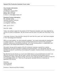Sample Film Cover Letter Cover Letter For Production Job Under Fontanacountryinn Com