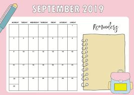 Floral Cute September 2019 Calendar Printable Template