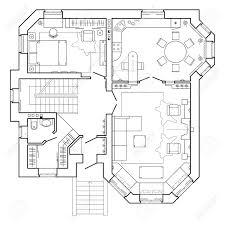 Grundriss Symbole Schwarz Weiß Architekturplan Eines Hauses Plan