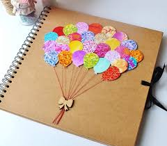 Colourful Balloon Scrapbook Album Rustic Scrapbooking Christmas Gift For Her Large 12x12