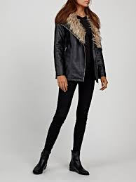 longline biker jacket with remavable faux fur collar