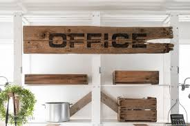 wood office desk. Pallet Wood Office Desk With Large Sign And Rustic Benches, Including Crates For Paperwork Organizing