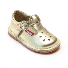 Lamour Girls Classic 751 Patent Gold Leather Mary Janes