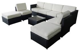 M bo 9 Piece Black Wicker White Cushion Patio Sectional Outdoor