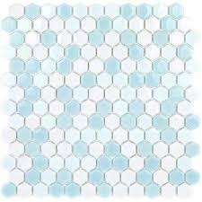 recoup hexagon glacier 11 5 in x 12 in x 6 mm glass mosaic floor