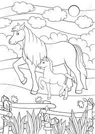 Coloring Pages Farm Animals Mother Horse Walks With Her Little