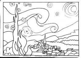 Outlines Of Famous Art Thema Ik Ben Een Kunstenaar Starry Night