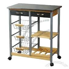 kitchen cart with wire baskets and wooden shelf stainless steel top rolling carts whole contemporary bamboo kitchen rolling cart