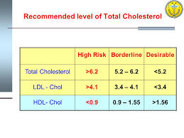 10 recommended level of total cholesterol high riskborderlinedesirable total cholesterol 6 25 2 6 2 5 2 ldl chol 4 13 4 4 1 3 4 hdl chol 0 90 9