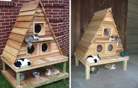 Cat Houses Outdoor Indoor House Plans Triplex Delightful This Cottage By Wood Works Is The S  Outside