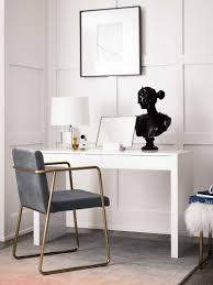 cb2 office. simple classic office with console table and gold chair on thou swell thouswellblog cb2