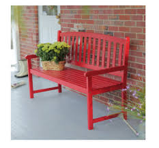 outdoor bench red garden patio porch furniture wood red 5 ft slat curved back for