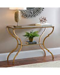 gold console table. Geometric Gold Glass Console Table