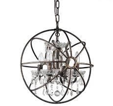 antique bronze globe sphere vintage cage crystal chandelier ceiling fixture contemporary chandeliers