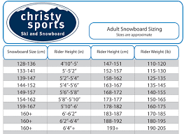 Never Summer Snowboard Size Chart Snowboard Adult Sizing Size Chart Christy Sports