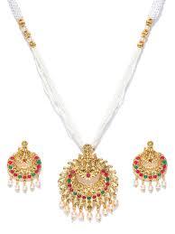Laxmi Pearls Designs Zaveri Pearls Goddess Laxmi Moti Mala Necklace Set Zpfk7040
