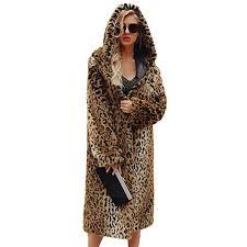 innovation yellow viahwyt women s luxury leopard print faux fur coat las winter warm long chunky hooded