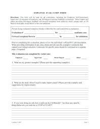 Employee Evaluation Forms Performance Review Examples Inside Form ...