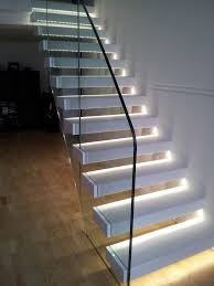 Interior Design:Simple Modern Stairs With Tempered Glass Banister Also Staircase  Lighting Idea Simple Modern