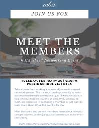 Meet The Members Wha Speed Networking Event Tickets Tue Feb 26