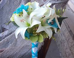 flowers for a beach wedding. beach wedding / destination tropical flowers ivory and teal lime real touch silk bridal for a b
