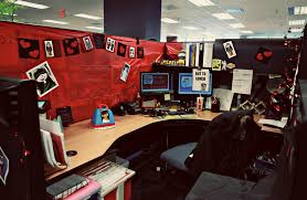 ideas to decorate office cubicle. Office Cubicle Decorating Ideas Also Black Red Themes Plus Curve Floating Desk With Wood Material Design And Hang Picture Corner Shelf To Decorate
