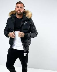 black coat with fur hood mens degrees puffer jacket in black with faux fur hood jackets