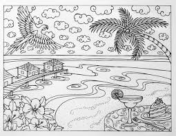 Small Picture Tropical Beach Vacation Adult Coloring Page by