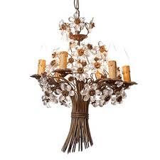 vintage six light bronze crystal flower chandelier from maison baguès 1
