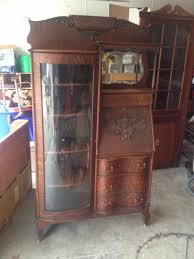 antique secretary bookcase tiger oak original quartersawn hutch cabinet curved