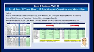 Excel Overtime Formula Excel Business Math 30 Payroll Time Sheets If Function Sheet Reference For Overtime Gross Pay