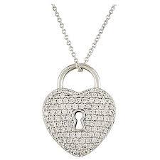 co diamond set heart lock pendant
