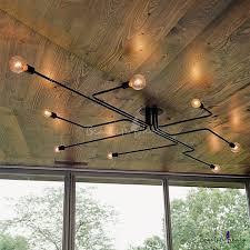 industrial lighting bare bulb light fixtures. Industrial Edison Bulb Wrought Iron 8 Light Large LED Semi Flush Ceiling In Black - Beautifulhalo.com Lighting Bare Fixtures